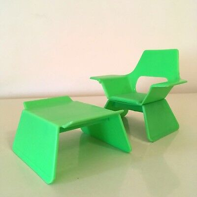 vintage mattel 1974 doll swivel chair and foot rest - retro green furniture