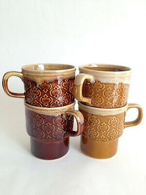 4x Vintage Retro Stackable Ceramic Tea Coffee Mugs Japan 1970's