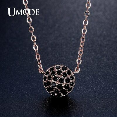 UMODE Black Micro Cubic Zirconia Paved Rose Gold Color Women Choker Necklaces