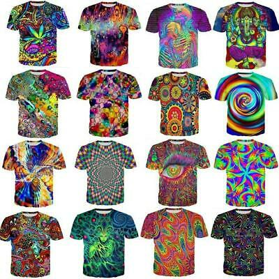 3D Colorful Hypnosis Swirl Print Men Women Casual T-Shirt Short Sleeve  Tee Tops