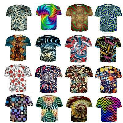 Psychedelic Color Womens/Mens 3D Print Casual T-Shirt  Short Sleeve Tee Tops