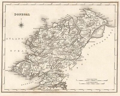 Map of County Donegal, Ireland. C1845.