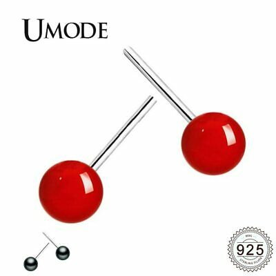 UMODE 6-8mm Black Red Freshwater Pearl Stud Earring 925 Sterling Silver