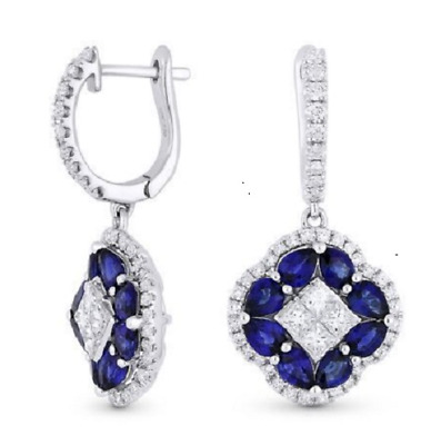 Lady 925 Silver White Topaz Blue Sapphire Hoop Dangle Earrings Wedding Birthday