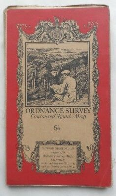 Antique OS Ordnance Survey One Inch Cloth Map Edition 84 Bedford  1919