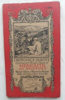 Antique OS Ordnance Survey Popular One Inch Cloth Map 139 Sidmouth Bridport 1928