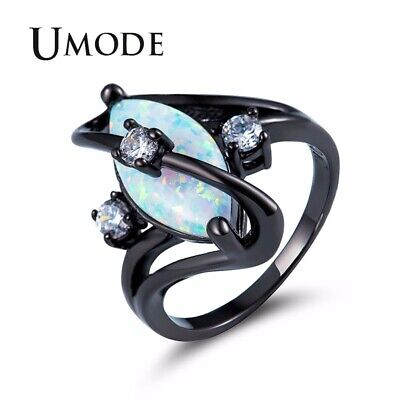 UMODE Fashion Eyes White Fire Opal Women Rings Female Egg Vintage CZ Stone