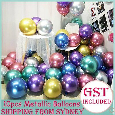 "Chrome Metallic 30cm Latex Balloons Pack 10 Birthday Wedding Party Balloon 12"" A"