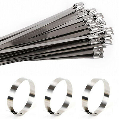 100Pcs Heat Resistant Locking Cable Tie Zip Wrap Cold Resistant Stainless Steel