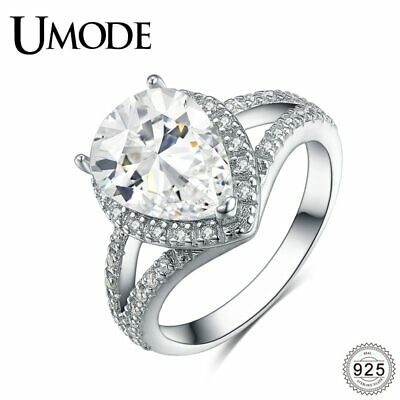 UMODE Luxury Waterdrop CZ Stones Wedding Ring Band for Women 925 Sterling