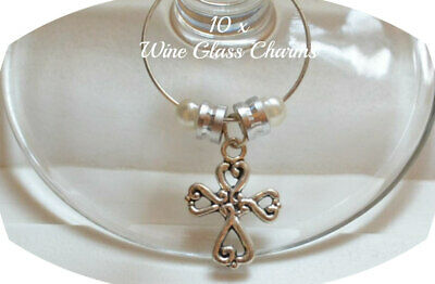 10 Silver Cross Wine Glass Charms Baby Shower Christening Party Favour Girl Boy