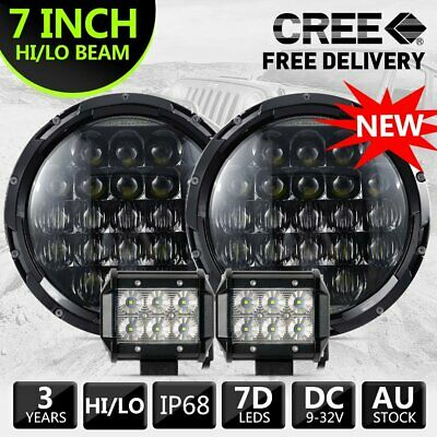 "2pcs 7"" inch 7D For JEEP JK GQ PATROL Projector LED Headlight DRL +2x4inch Flood"