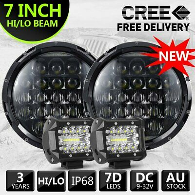 "Pair 7"" inch 7D For JEEP JK GQ PATROL Projector LED Headlight DRL & 4inch 2pcs"