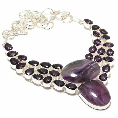 Antique Chevron Amethyst, Amethyst Handmade Silver Jewelry Necklace 18""