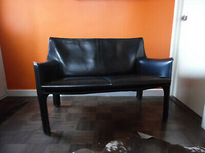 Mario Bellini CAB Two Seater Sofa for Cassina Black Leather Retro Vintage Chair
