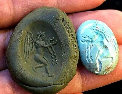 Superb! Ancient Natural Persian Blue Green Turquoise  Intaglio Angel Holy Water