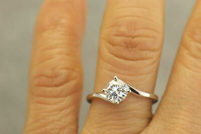 1Ct Round Cut Diamond Twist Swirl Solitaire Engagement Ring 14ct White Gold Over