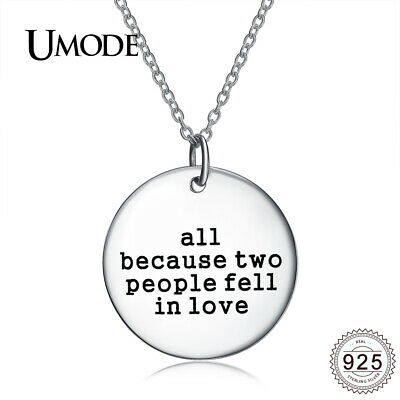 UMODE Love Initial Letter Round Solid 100% Real 925 Sterling Silver Pendant