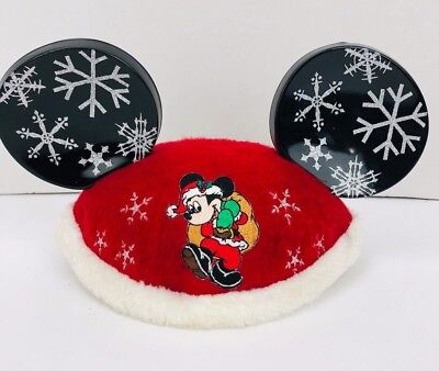 605d2c0dc6892 Disney Mickey Mouse Christmas Santa Hat Ears Fur Trim Embroidered Lexis