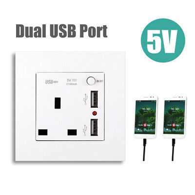 Electrical Outlet Panel Dual USB Wall Charger Port Socket Power Adapter UK Plug