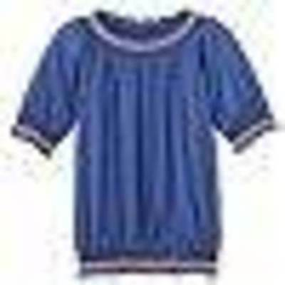 $22-Girls Mudd Blue Slubbed Banded Peasant Short Sleeve Shirt Top-sz 7/8 & 10/12