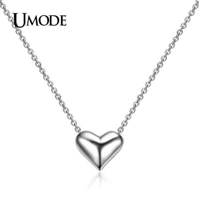 UMODE New White Gold Color High Polish 3 Dimensional Love Heart Jewelry