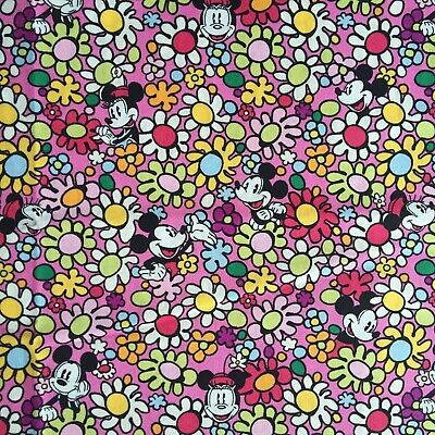 VB 100% Cotton Fabric per 1/2 metre, 145cm wide_Mickey Minnie Floral Pink M14