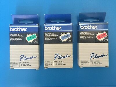 Brother Tape Cassette TC-791 TC-491 TC-591 to fit PT 8E 500, 2000, 3000, 5000