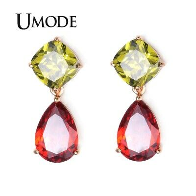 UMODE Gold-Color Attractive My Mona Lisa Olive-green and Red Color CZ Drop