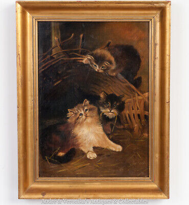 1906 Oil on Canvas after LILIAN CHEVIOT Hide & Seek Kittens Cats Painting Rare