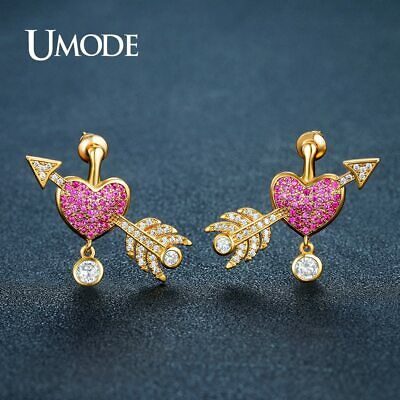 UMODE Brand New Love Heart Arrow Stud Earrings for Women Gold Color Fashion