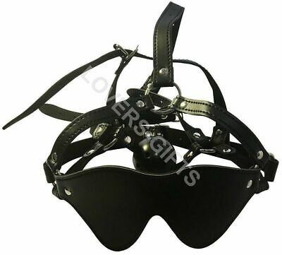 Open Mouth Ball Gag Mask Lockable Head Harness with Blindfold Bondage Restraint