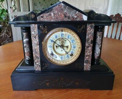 Vintage Ansonia Marble Slate Mantel Clock With External Escapement
