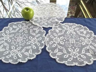 """3 Vintage Italian Fine Hand Knotted Lace 11"""" Round Doilies Filet Roses Pattern"""