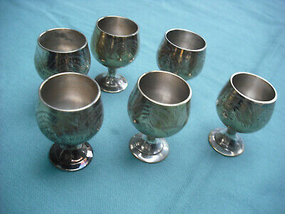 Set of 6 Vintage Small Goblets Silver Plated, Unused