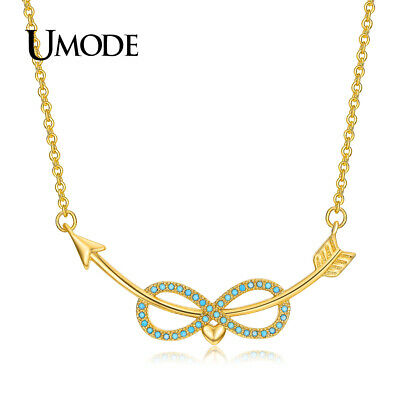 UMODE New Cute Lake Blue Infinity Love Heart Pendant Necklaces for Women &