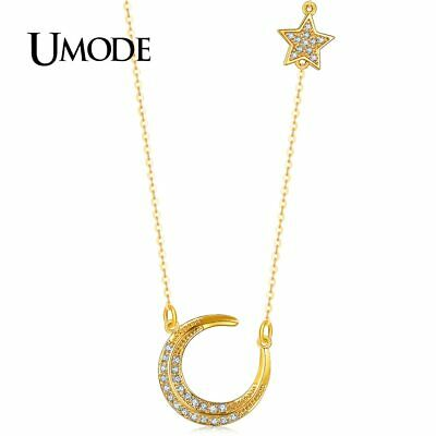 UMODE New Fashion Star and Moon Link Chain Crystal Pendant Necklace Jewelry for