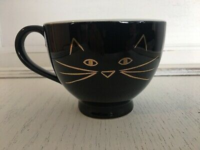 Black Cat GOLD Face Coffee Mug 10 Strawberry Street Kitsch Kitty Soup Cup Tea