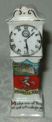 Vintage Arcadian China Crested Ware Grandfather Clock Pegwell Bay A&S