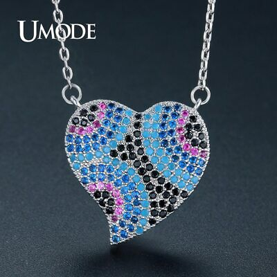 UMODE Colorful Austrian Crystal Luxury Brand Heart Pendant Necklace Fashion