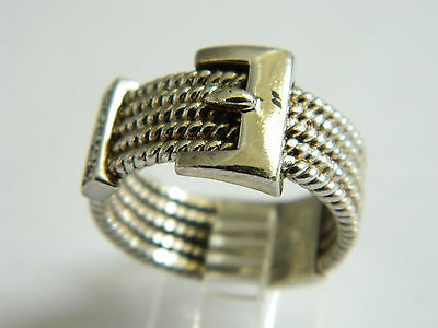 Classy  Sterling  Silver Belt -  Band  Ring  Size  6.5