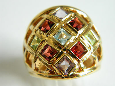 Gorgeous Silver Domed Gold  Plated Ring  With Multicolor Cz Stones Size 6.5#1412