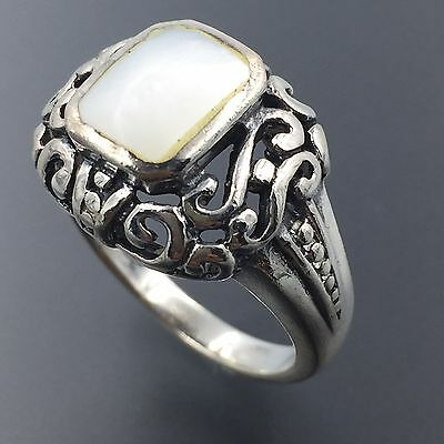 925 Sterling Silver Mother Of Pearl Scroll Work Cocktail Ring Size 6 #1374