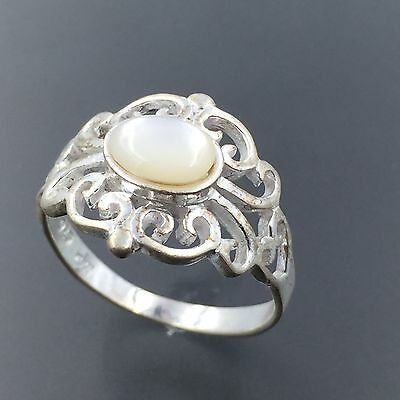 Marsala Sterling Silver Mother Of Pearl Ornate Ring Size 6.75 #1725
