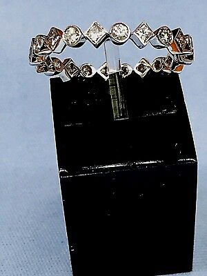 Adorable 14 Kt White Gold Ring With 0.50ct Diamonds Size 7.75 1.8gr