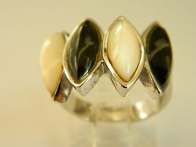 Stylish  Sterling Silver Ring With  Mop White And Black  Cabochons  Size 7#905