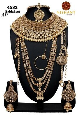 Bridal & Wedding Party Jewelry 9pcs Bridal Necklace Set Green Pearl Lct Gold Kundan Polki Dance Padmavat Eid Selected Material Jewelry & Watches