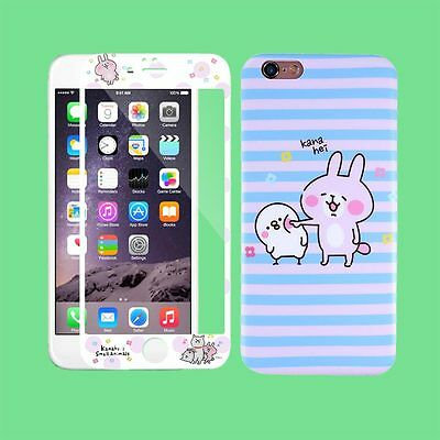 Colorful GLASS Screen Protector Cartoon Rabbit Soft Cover For iPhone 6 6S Plus