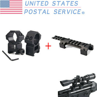 Tactical 30mm Rings High Profile Weaver Rail Mount+128mm Long Rail Mount Black