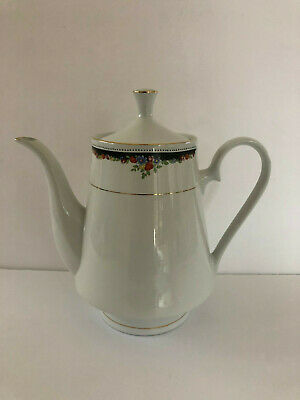 Lynns Fine China Bennington Black Band, Multicolor Flowers - COFFEE POT / TEAPOT